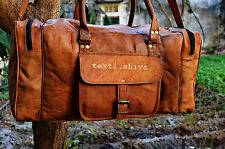 "24"" Real Leather Handmade Travel Gym Duffle Bag Luggage Vintage Overnight Bag"