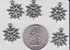 YOU GET 25 SILVER TONE CHRISTMAS SNOWFLAKE CHARMS.  FROM   U.S. SELLER.  - W