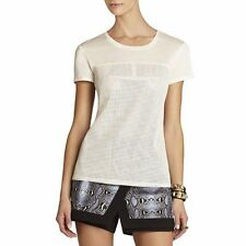 *NEW* BCBG Whisper White Hudson Perforated Faux Leather S/S Top Shirt. Large