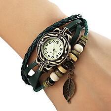 New US Quartz Fashion Weave WRAP Around Leather Bracelet Lady Woman Wrist Watch