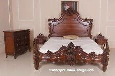 Barock Bett Doppelbett Ehebett Stil Polsterbett Prunk Massivholz 180x200 braun