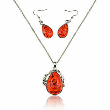 "Faux Red Amber White Gold Plated 2"" Pendant + 21"" Chain Necklace + Earrings"
