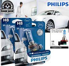 H8 Philips White Vision + 60% More light Car Headlight Bulbs 12360WHVB 12V 55W