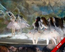 BALLET AT PARIS OPERA BALLERINAS ON STAGE E DEGAS PAINTING ART REAL CANVAS PRINT