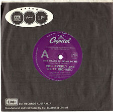 "PHIL EVERLY AND CLIFF RICHARD - SHE MEANS NOTHING TO ME - 7""45 VINYL RECORD 1982"