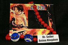 USA Seller Cosplay Anime One Piece Portgas D. Ace Red Bead Necklace in Box