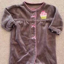 ADORABLE! CARTER'S NEWBORN BROWN VELOUR CUPCAKE FOOTED SLEEP N PLAY OUTFIT