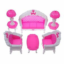 US 6pc/Set Sofa Chair Couch Table Lamp Set Toys For Barbie Dolls House Furniture
