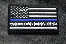 ALL LIVES MATTER THIN BLUE LINE POLICE TACTICAL SWAT MORALE HOOK PATCH