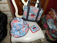 Vera Bradley Red, White and blue Seaside port tote, hat and wallet