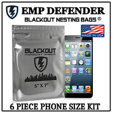 "FARADAY CAGE EMP ESD BAGS 6 PC PHONE SIZE 5"" X 7"" PREPPER KIT BY EMP DEFENDER"