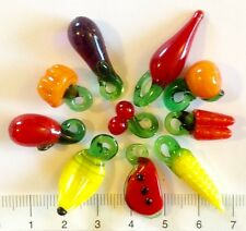 10 x various fruit and veg. lampwork glass beads / pendants 12 / 32mm 17 gms 28