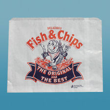 "1000 x Fish and Chip Paper Bags 14"" x 11"" Take Away Bags Catering Kitchen"