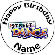 """Personalizado De Cumpleaños Street Dance Redondo 8"""" fácil Precortada Glaseado Cake Topper"""