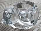Indiana Glass Clear Cat Kitten Kitty Votive Candle or Tea Light Holder