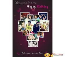 PERSONALIZED HAPPY BIRTHDAY Picture Photo GREETING CARD Gift Collage