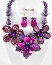 MULTI PURPLE SHELL FLOWER FLORAL LOOK FAUX PEARL CHUNKY BIB NECKLACE EARRING