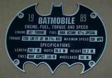 CUSTOM BATMOBILE SERIAL DATA PLATE 1989 MANUFACTURER BATMAN DARK KNIGHT COWL