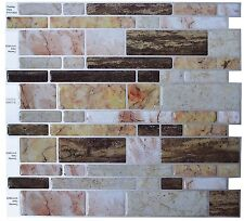 Crystiles? Peel and Stick Self-Adhesive Vinyl Wall Tiles, Multi-Color Marble St