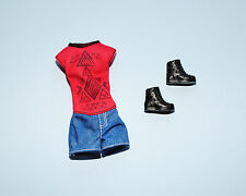 Red & Black Aztec Top w/ Blue Denim Jeans Shorts SKIPPER Jumper Outfit w/ Boots