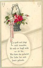 Blumen, Blumenkorb, Rosen, Sinnspruch, Feldpost um 1915