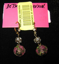 BETSEY JOHNSON TZARINA BEAD WITH FLOWERS AND BLING DANGLE EARRINGS