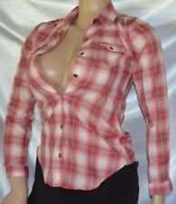 Dream Out Loud Red Plaid Grunge Studded Shoulder Dress Casual Blouse Shirt XS