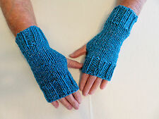 Hand Knit Fingerless Gloves- Wrist Warmers-Texting Gloves-Peacock Metallic