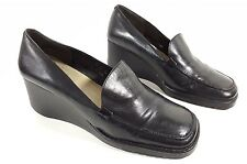 Nine West womens black leather low wedge heel shoes uk 6