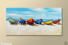 Hand-painted oil painting Modern Art On Canvas Abstract Colorful boat(No Frame)