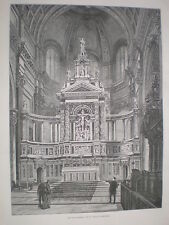 The new Reredos at St Paul's Cathedral London 1888 old print