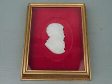Carved 19th Marble or Alabaster Cameo Plaque Bearded Man in Profile Sculpture VR