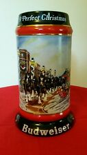 """1992 BUDWEISER Beer """"A Perfect Christmas"""" Clydesdales Horse Stein Mug"""