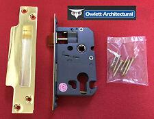 "Owlett 5 LEVA Euro Profile Cylinder Sash LOCK caso 65mm (2,5 "") in ottone finitura"