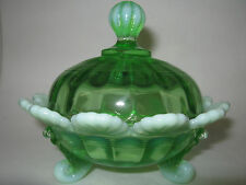 Green opalescent glass Klondike Covered Candy dish butter / sugar fluted scrolls