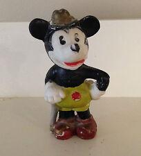 """1930's Vintage Mickey Mouse Bisque 4"""" Figure Hat & Cane ~ Walt E. Disney (Japan)"""