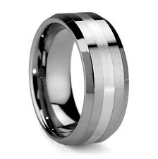 Mens Solid 8mm Brushed Stripe Tungsten Carbide Ring Jewellery