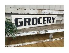 EMBOSSED METAL GROCERY SIGN ~ VINTAGE FARMHOUSE
