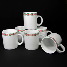 Crate and Barrel 12 oz Holiday White Cup Mug Red Green Square Set Six Christmas