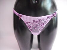 Cotton Club 07Q Lilac Thong With Purple Embroidered Detail Size 8 #20D162