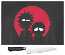 Rick And Morty Large Glass Chopping Cutting Board Geeky Cartoon