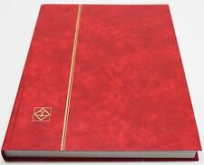 RED 32 Page Hardcover Stamp Stock Book, WHITE Pages, Double Glassine, 9 Strips