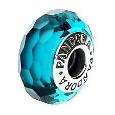 Authentic Pandora Bead Charm Turquoise Teal Faceted Murano Glass 791606 + Box