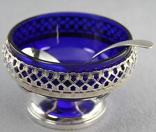 ESTATE - VINTAGE SILVER PLATED MAYO RELISH SERVING DISH COBALT GLASS LINER