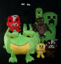 LOT OF 8 MINECRAFT CREEPER SQUID MOOSHROOM BAT FROG STUFFED ANIMAL PLUSH TOY