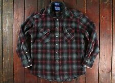 VTG PENDLETON PLAID WOOL SNAP BUTTON WESTERN SHIRT LUMBERJACK EXTRA SHORT XS/S