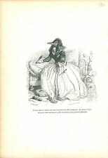 Magpie Pie Oiseau Bird in dress en robe ANTHROPOMORPHISM 1842 GRAVURE OLD PRINT