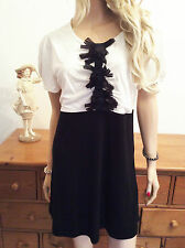 Simply Be Size 16 Black Ivory Organza Bow Trim Bodice Tunic TOP Dress Party