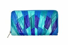 Genuine Eel Skin Leather - Pleated Purse Wallet Clutch / Zip-Around / Teal Blue