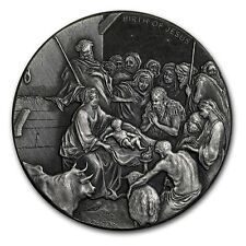 2016 Biblical Series The Birth Of Jesus 2 oz .999 Silver Antiqued Finish Coin